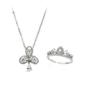 Fashion cross crystal ring necklace set